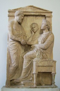 Funerary stele of Thrasea and Euandria. Marble, ca. 375-350. Antikensammlung Berlin, 738. Author Marcus Cyron