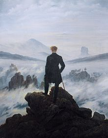 Caspar David. Wanderer above the Sea of Fog (1818). 94.8 × 74.8 cm, Kunsthalle Hamburg.