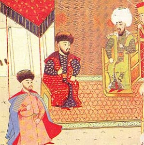 Meñli I Giray (centre) with the eldest son, future khan Mehmed I Giray (left) and Turkish sultan Bayezid II (right) Date 	 Source 	http://hansaray.iatp.org.ua/u_geray_ist.html Author 	Turkish miniature (XVI centure)