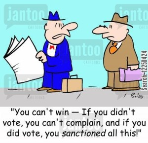 'You can't win -- If you didn't vote, you can't complain, and if you did vote, you sanctioned all this!'